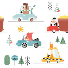 Kids transport seamless pattern with cute animals and cars. Vector Illustration. Great for baby clothes, greeting card, wrapping paper. Bear, fox, cow, giraffe.