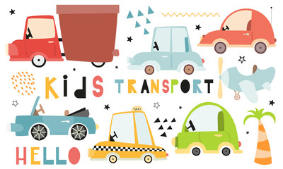 Poster Cartoon cars Cute Kids transport set on white background. Hand drawn. Doodle cartoon cars for nursery posters, cards, t-shirts. Vector illustration. Car, taxi, cabriolet.
