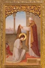 PRAGUE, CZECH REPUBLIC - OCTOBER 12, 2018: The painting St. Clara before bishop in church Bazilika svatého Petra a Pavla na Vyšehrade by S. G. Rudl (1895).