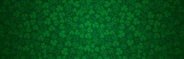 Green Patricks Day greeting banner with green clovers. Patrick's Day holiday design. Horizontal background, headers, posters, cards, website. Vector illustration Wall mural