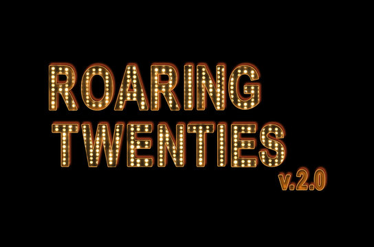 new Roaring twenties  poster wallpaper, font with  bulb Hollywood Broadway, letters on black background