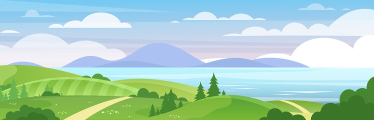 Tuinposter Pool Sea and mountains landscape flat vector illustration