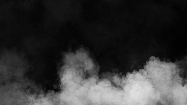 Explosion white fog on isolated black background. Experiment chemistry smoke . The concept of aromatherapy. Stock illustration.