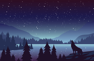 Wolf in mountains landscape flat vector illustration