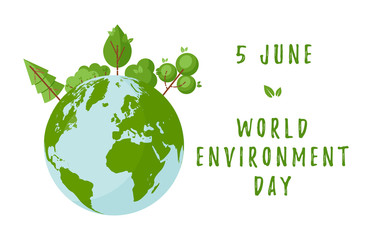 Fototapeta World environment day concept with green trees and planet Earth. Design for web banners, posters, cards etc in flat style. Vector illustration obraz