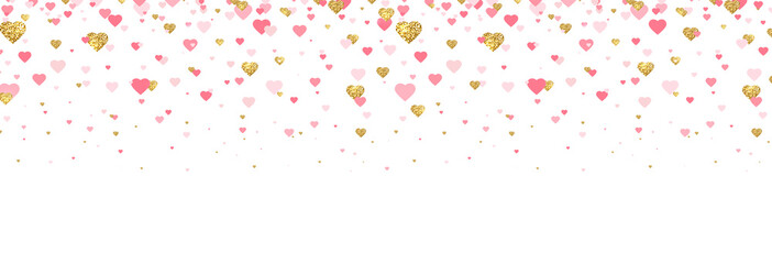 Gold glitter and pink hearts confetti border. Bright hearts confetti falling on white background. Valentines Day banner for greeting cards, wedding invitation, gift packages. Vector illustration