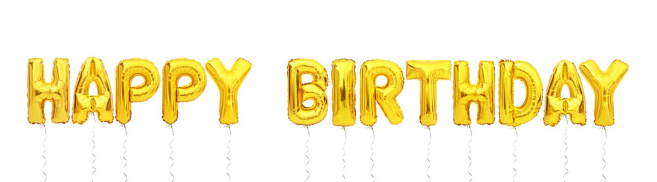 happy birthday balloon font isolated on white background