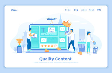 Quality content, management, optimization, filtration, rating. Specialists create High-Quality Content Place photos, videos, audio, text files on the site landing web page decorated with people.