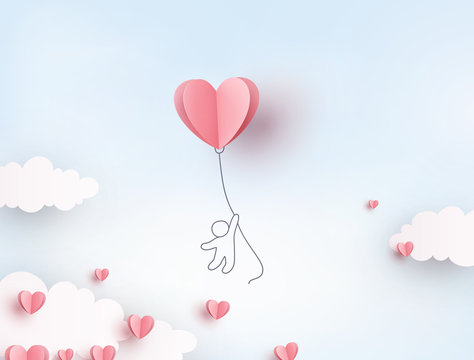 Pink heart flying balloon with man on blue sky background. Vector love postcard for Happy Mother's, Valentine's Day or birthday greeting card design..
