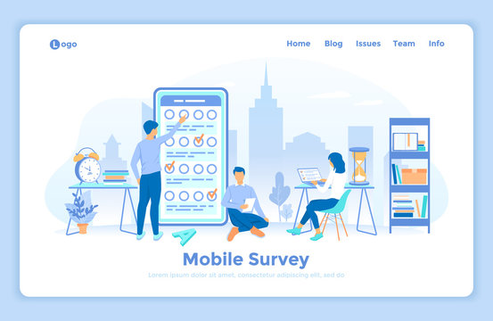 Online mobile survey testing questionnaire. Phone screen with online filling forms and check marks. A group of people making online testing, examination. landing web page decorated with people