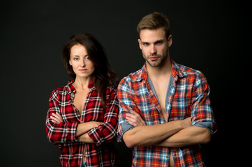 Sensual couple. Happy valentines day. Love and romance. Man and girl romantic date. Couple in love. Sexy couple checkered shirts copy space. True feelings. Family look. Matching outfits. Clothes shop