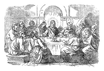 Vintage drawing or engraving of biblical story of Jesus and the last supper. Jesus and twelve disciples are eating around the table.Bible,New Testament,Matthew 26,Mark 14,Luke 22,John 13. Biblische