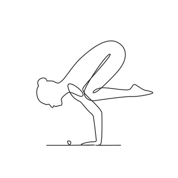 Yoga position one line drawing on white isolated background