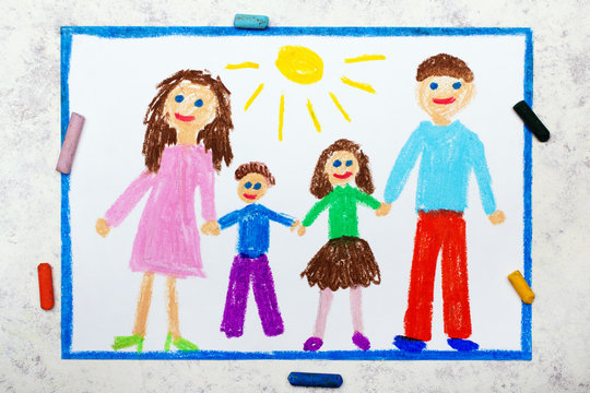 Photo of colorful drawing: happy family, mother, dad, son and daughter