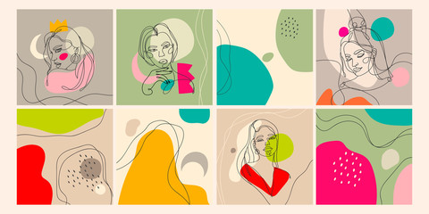 Wall Mural - Set of eight illustrations. Outline female silhouettes and abstract backgrounds. Contemporary modern trendy vector illustrations. Every illustration is isolated. Pastel colors