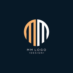 MM Circle Initials Letter Logo Design with Sans Serif Font Vector Illustration. - Vector
