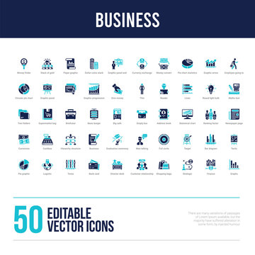 50 business concept filled icons