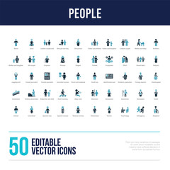 50 people concept filled icons