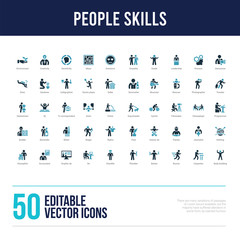 50 people skills concept filled icons