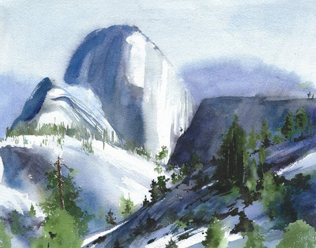 Yosemite American landscape national park mountain view watercolor painting illustration