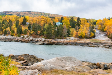 Canada, typical houses on the shore of the Saint-Laurent, beautiful bay
