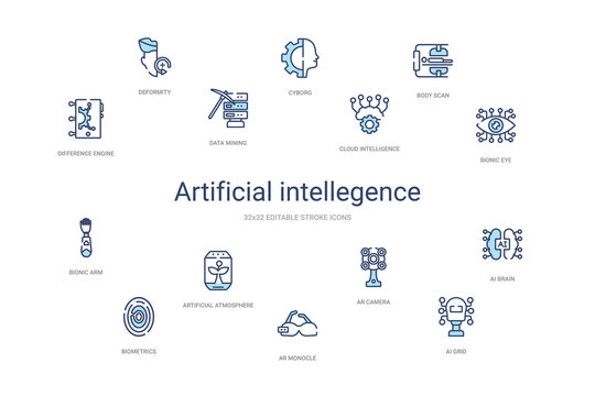 artificial intellegence concept 14 colorful outline icons. 2 color blue stroke icons