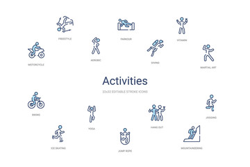 activities concept 14 colorful outline icons. 2 color blue stroke icons