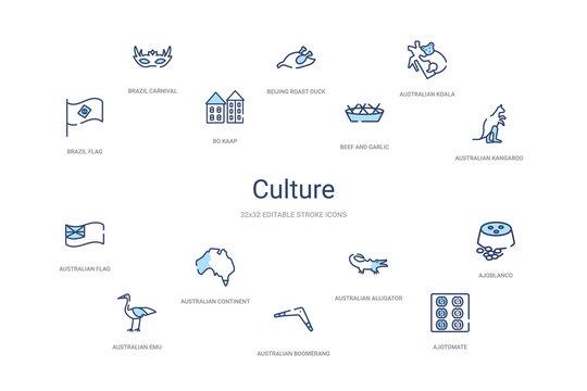 culture concept 14 colorful outline icons. 2 color blue stroke icons