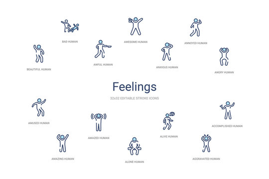 feelings concept 14 colorful outline icons. 2 color blue stroke icons