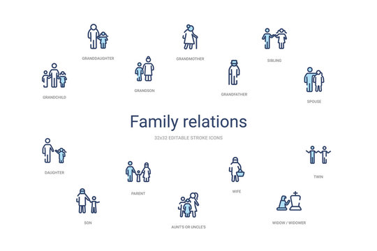 family relations concept 14 colorful outline icons. 2 color blue stroke icons