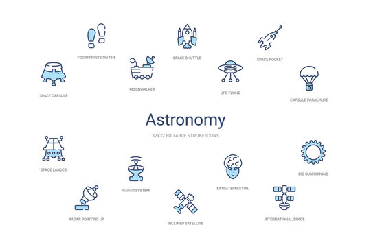 astronomy concept 14 colorful outline icons. 2 color blue stroke icons