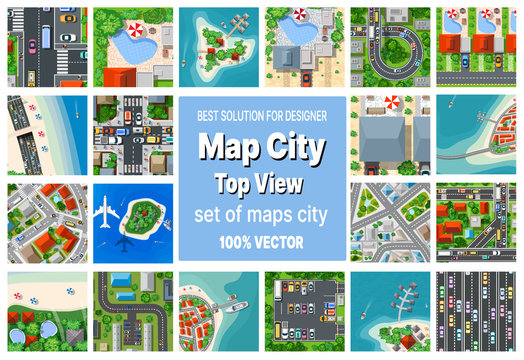 A set of maps top view of the city