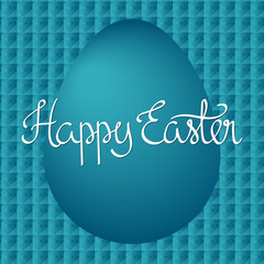 Easter egg on blue pattern with squares. Happy Easter card