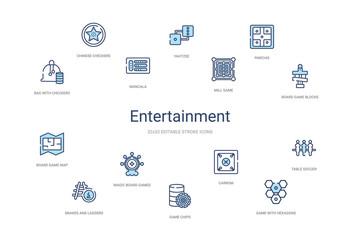 entertainment concept 14 colorful outline icons. 2 color blue stroke icons