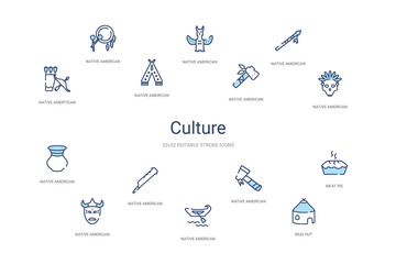 culture concept 14 colorful outline icons. 2 color blue stroke icons Fototapete