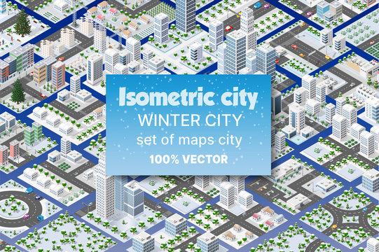 Winter Christmas landscape Isometric City set