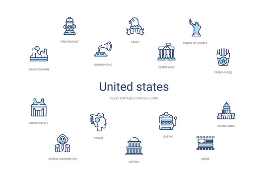 united states concept 14 colorful outline icons. 2 color blue stroke icons