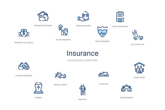 insurance concept 14 colorful outline icons. 2 color blue stroke icons