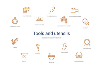 tools and utensils concept 14 colorful outline icons. 2 color blue stroke icons