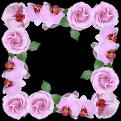 Wall Mural - Beautiful floral circle of orchids and roses. Isolated