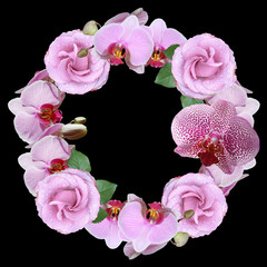 Wall Mural - Beautiful flower circle of roses and orchids. Isolated