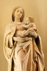 CATANIA, ITALY - APRIL 7, 2018: The marble statue of Madonna in church Chiesa di San Domenico by Antonello Gagini (1478 - 1536).