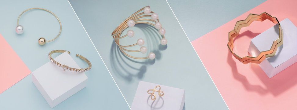 Photo collage of Different golden bracelets on pink and blue background