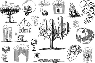 many hand drawn sketches of topics regarding nature and environment and ecology and energy and planet earth and carbon footprint