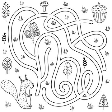Black and white labyrinth game for kids. Help the squirrel find the way to the nut