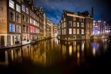 Printed roller blinds Channel Amsterdam canals and houses against night cityscape of Amsterdam, Holland Netherlands