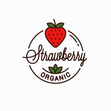 Strawberry logo. Round linear logo of organic
