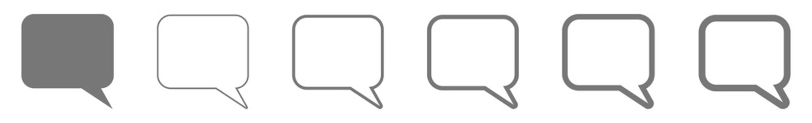 Speech Bubble Balloon Icon gray | Blank Rectangle Rounded Bubbles | Communication Symbol | Message Logo | Cartoon Sign | Isolated | Variations Fototapete