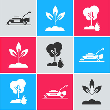 Set Lawn mower, Plant and Watering Tree icon. Vector