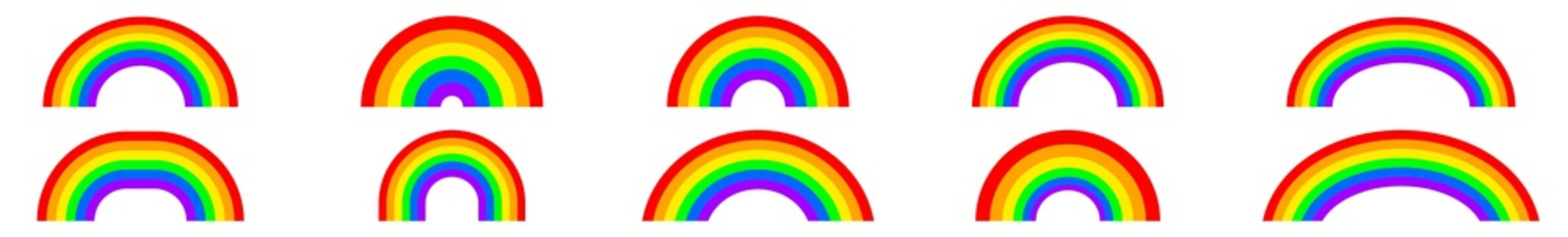 Rainbow Icon Colors   Rainbows   Peace Symbol   Weather Logo   Happy Sign   Isolated   Variations